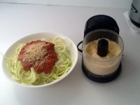 Raw Vegan Parmesan Cheese, Zucchini Noodles with Sauce